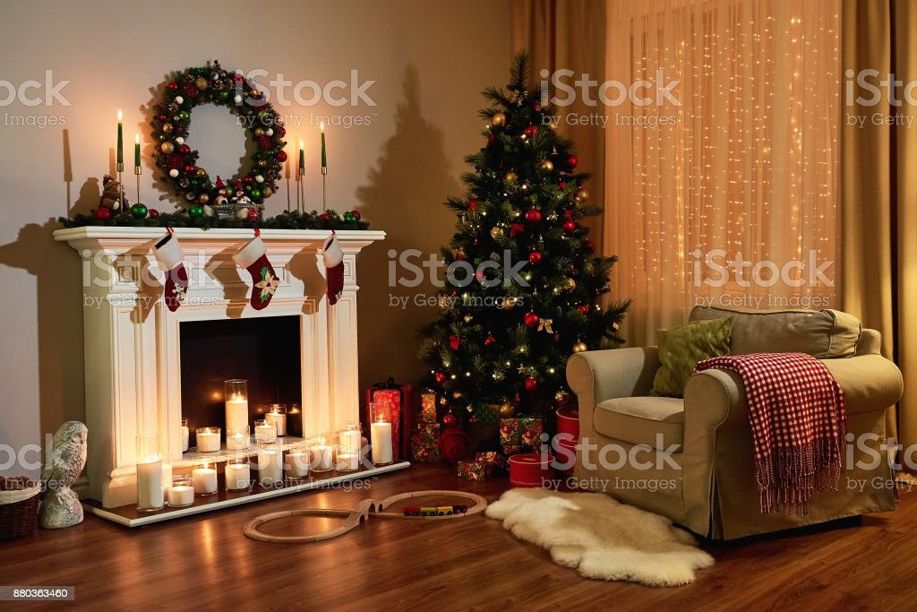 Christmas Room Interior Design Xmas Tree Decorated Dy Lights Presents Gifts Toys Candles And Garland Lighting Indoors Fireplace Christmas Holiday Living Room New Year Design Stock Photo Download Image Now Istock