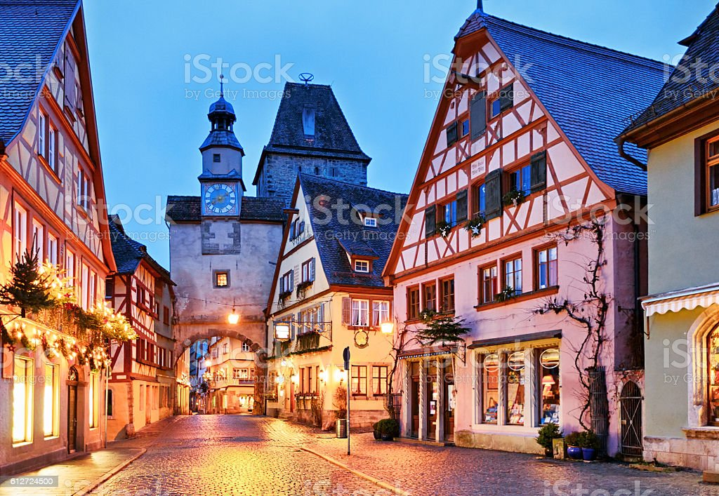 Christmas Rothenburg ob der Tauber, Bavaria, Germany stock photo