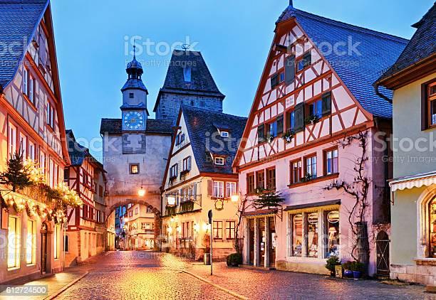 Christmas Rothenburg Ob Der Tauber Bavaria Germany Stockfoto en meer beelden van Architectuur