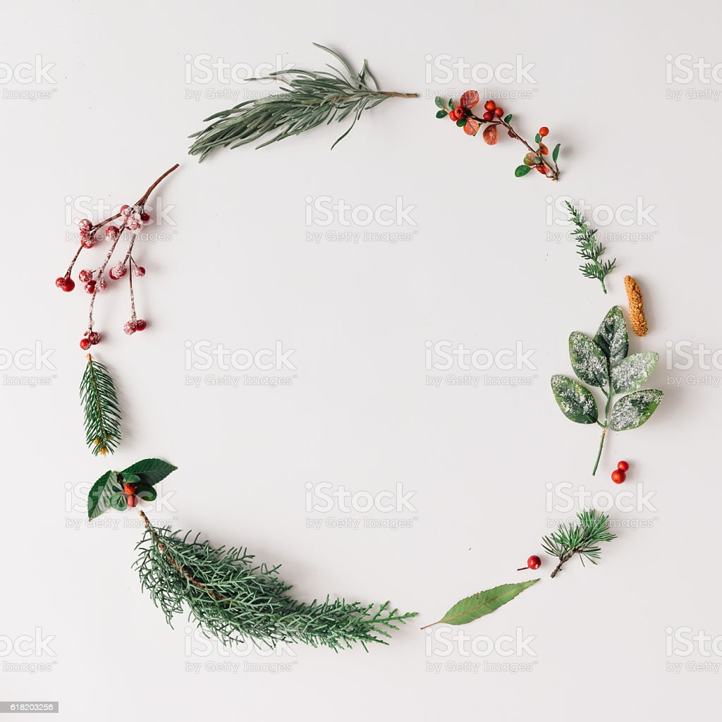 Christmas round frame made of natural winter things. stock photo