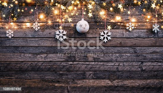 istock Christmas rustic background with wooden planks 1035497434