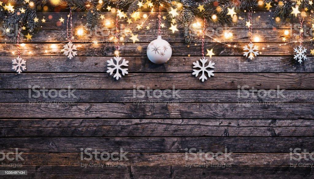 Kerstmis rustieke achtergrond met houten planken foto