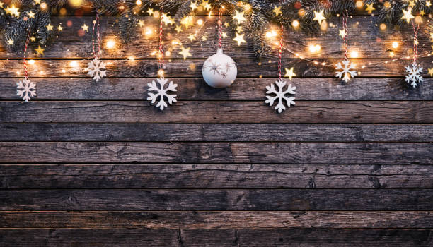 christmas rustic background with wooden planks - christmas table foto e immagini stock