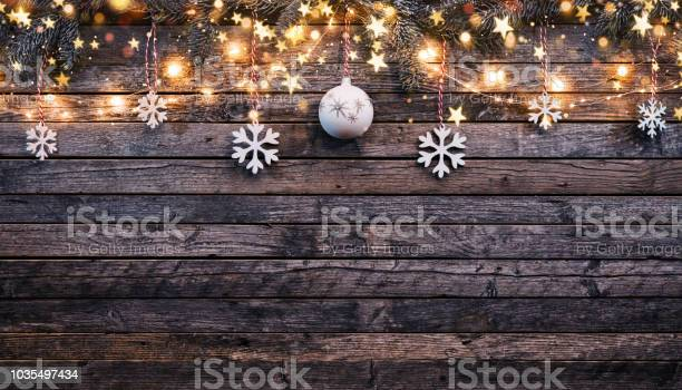 Photo of Christmas rustic background with wooden planks