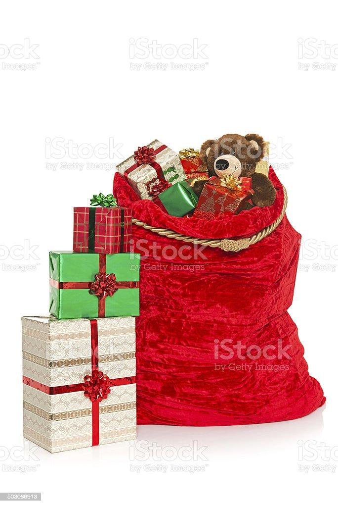 Christmas sack isolated on white stock photo
