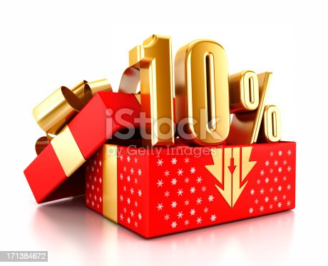 Gold 10% text inside an open gift box decorated with snowflakes. Christmas sale concept.Similar images: