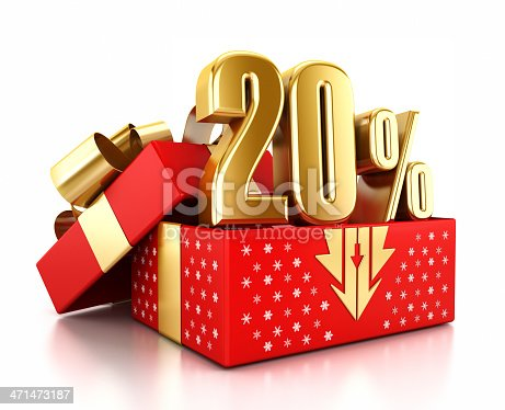 Gold 20% text inside an open gift box decorated with snowflakes. Christmas sale concept.