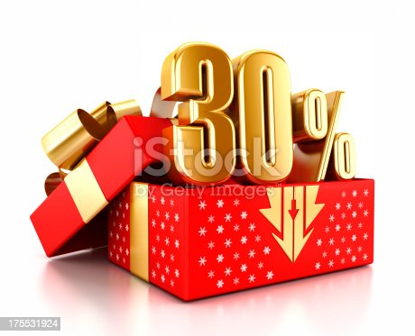 Gold 30% text inside an open gift box decorated with snowflakes. Christmas sale concept.Similar images:
