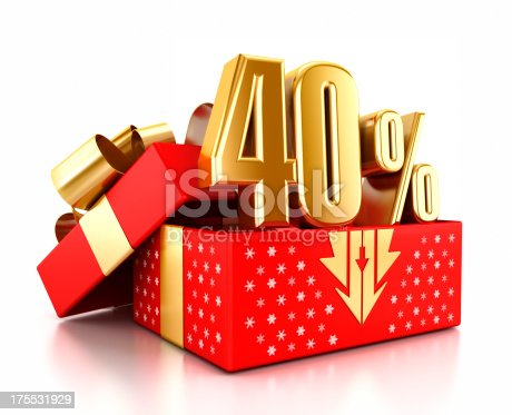 Gold 40% text inside an open gift box decorated with snowflakes. Christmas sale concept.Similar images:
