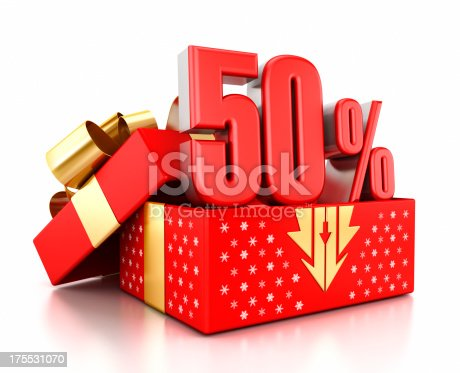 Red 50% text inside an open gift box decorated with snowflakes. Christmas sale concept.Similar images: