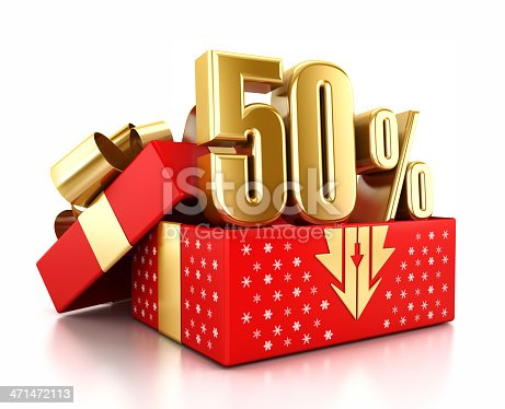 Gold 50% text inside an open gift box decorated with snowflakes. Christmas sale concept.