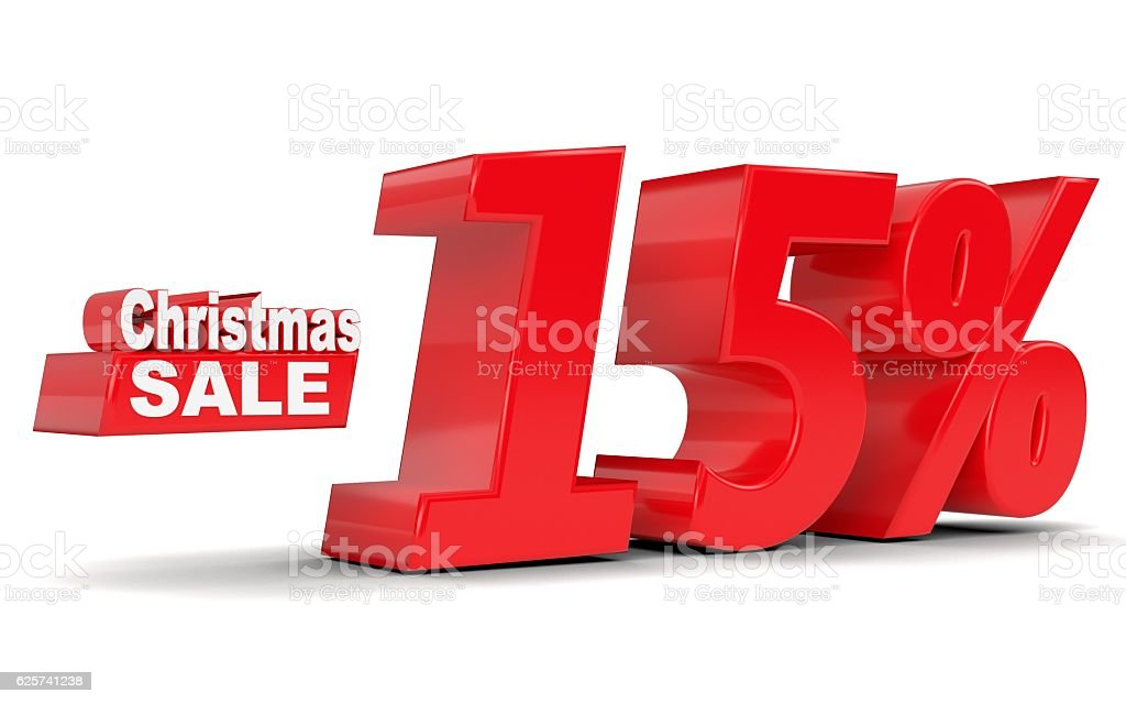 Christmas sale. Discount 15 percent off stock photo