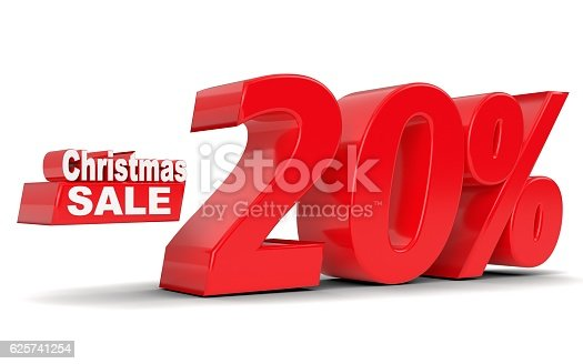 530872967 istock photo Christmas sale. Discount 20 percent off 625741254