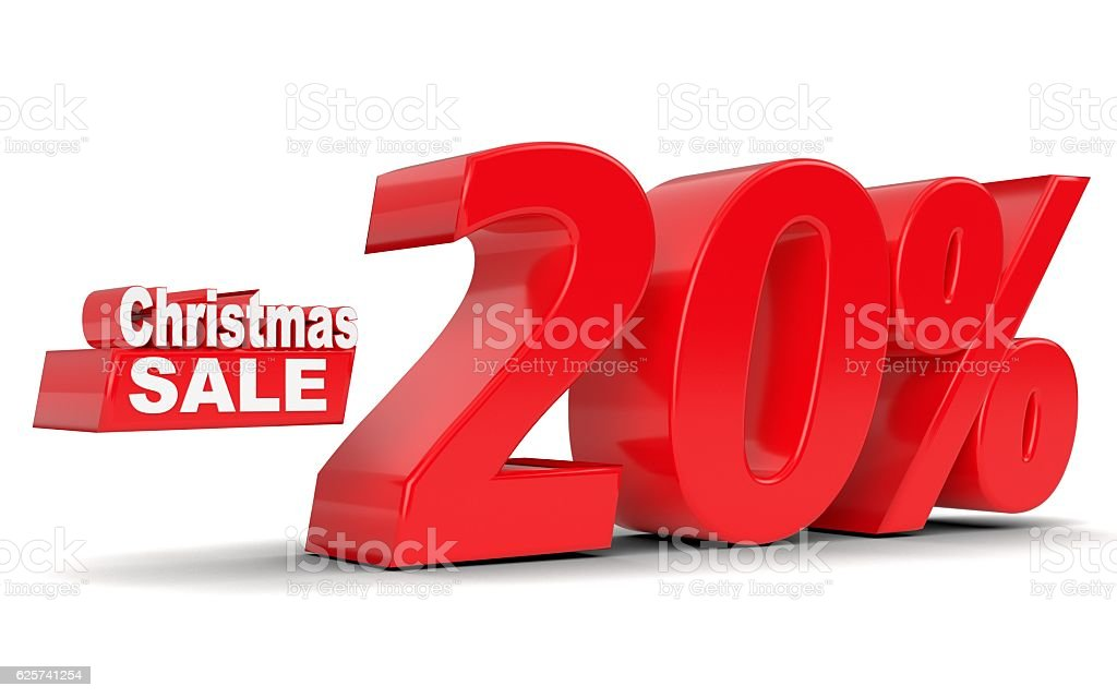 Christmas sale. Discount 20 percent off stock photo