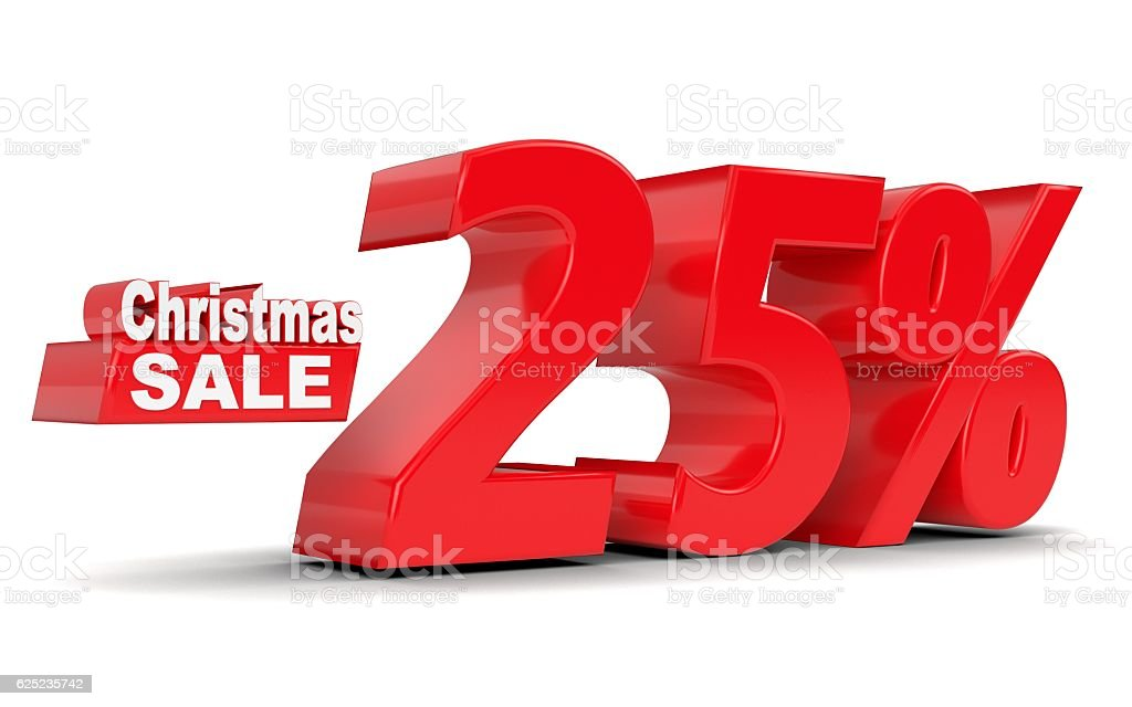 Christmas sale. Discount 25 percent off stock photo