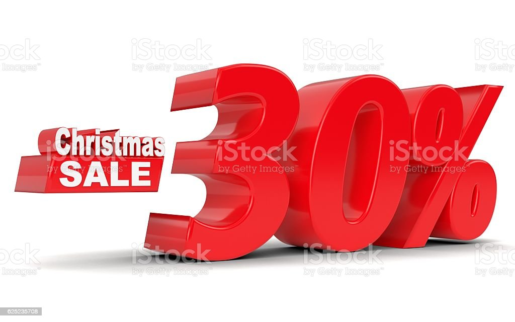 Christmas sale. Discount 30 percent off stock photo