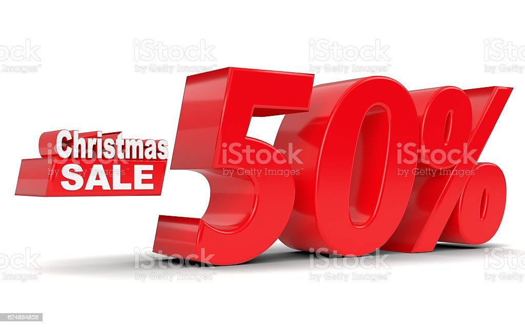 Christmas sale. Discount 50 percent off stock photo
