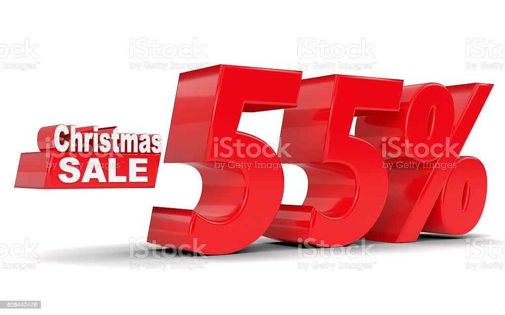 Christmas sale. Discount fifty five percent off stock photo