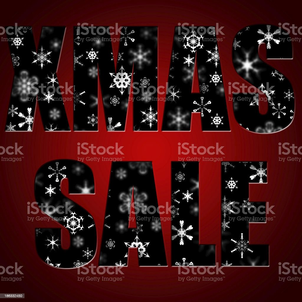 Christmas sale inscription against snowflakes royalty-free stock photo
