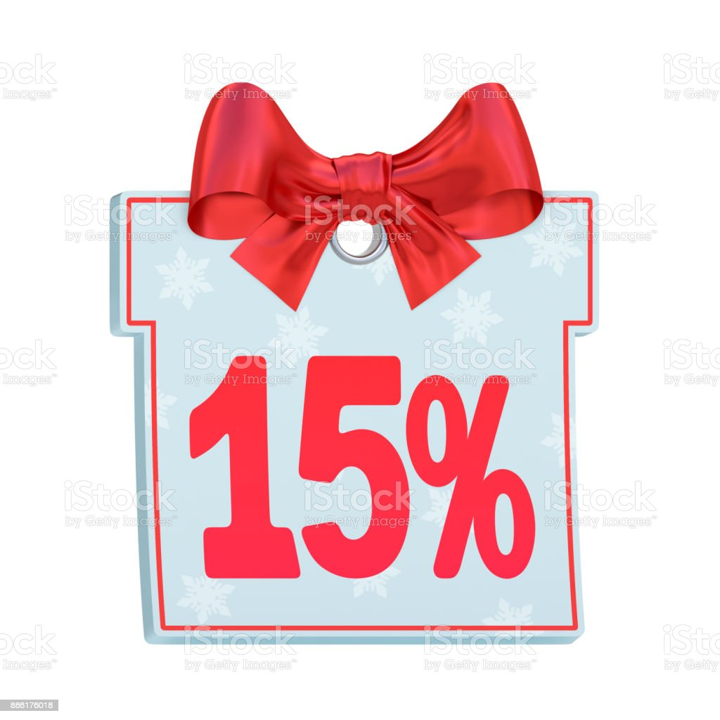 Christmas sale paper price tag as gift box with red bow and fifteen percent (15%) isolated on white background stock photo