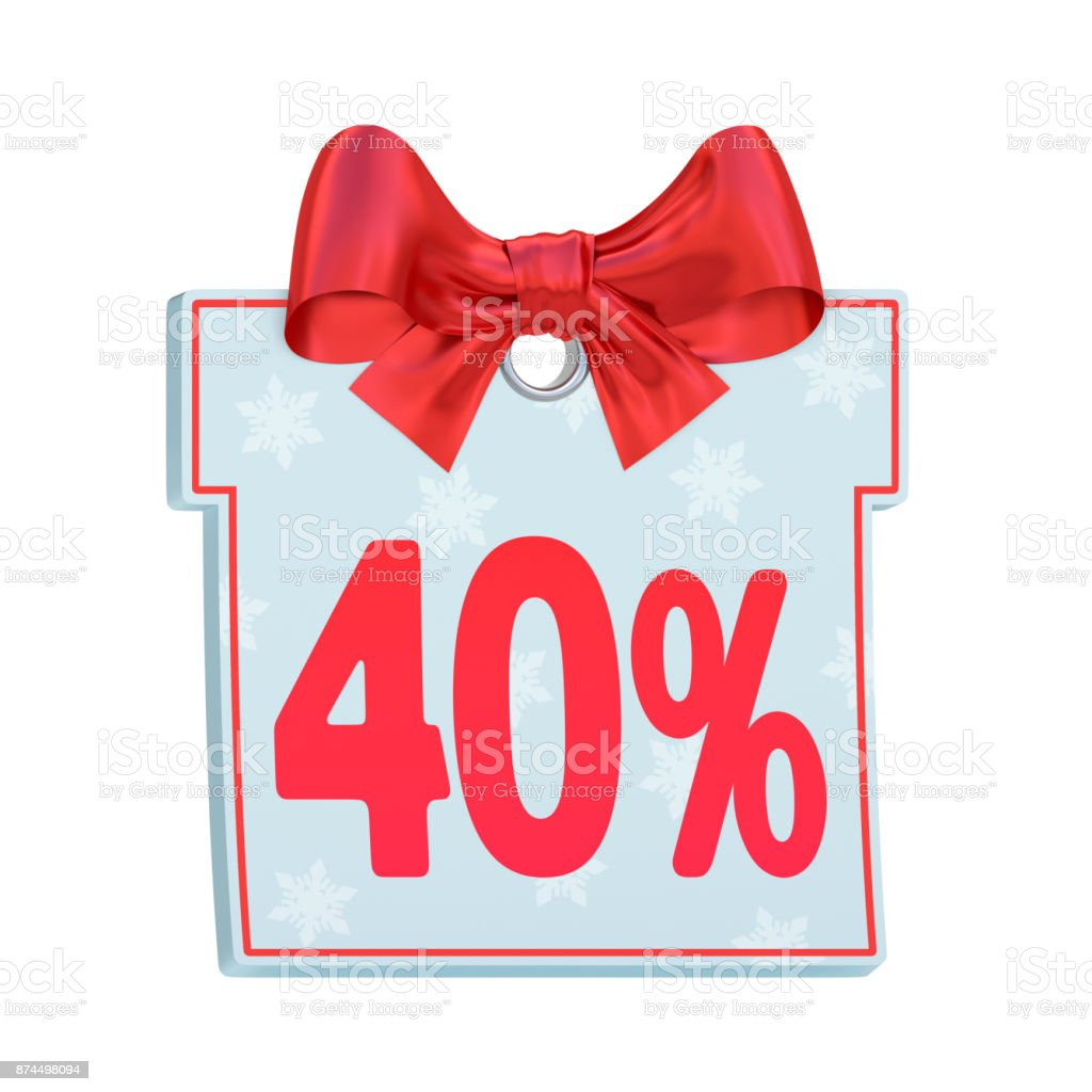 Christmas sale paper price tag as gift box with red bow and forty percent (40%) isolated on white background stock photo
