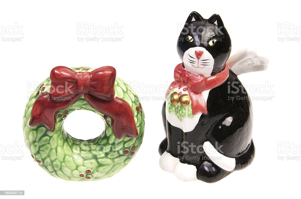 Christmas salt and pepper shakers. stock photo