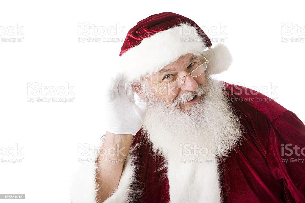 Christmas Santa Claus Season Listening Red White Head Shoulders royalty-free stock photo