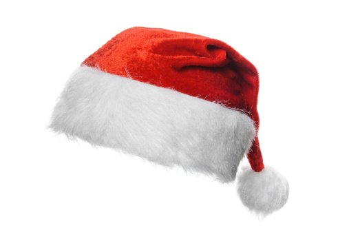 A Christmas Santa hat on a white background