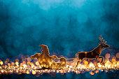 Christmas Santa Sleigh and Reindeer - Backgrounds Defocused