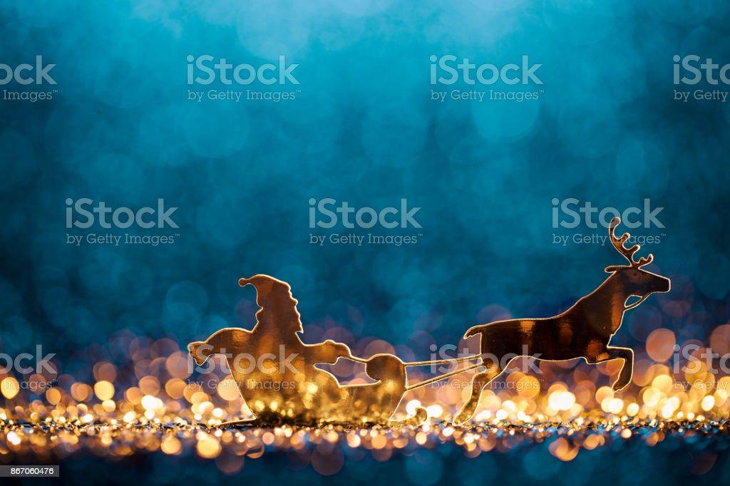 Traîneau de Noël Santa et Rennes - horizons Pasante - Photo