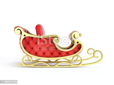 Christmas Santa sleigh full of gift boxes - red and golden sledge with presents, 3d rendering