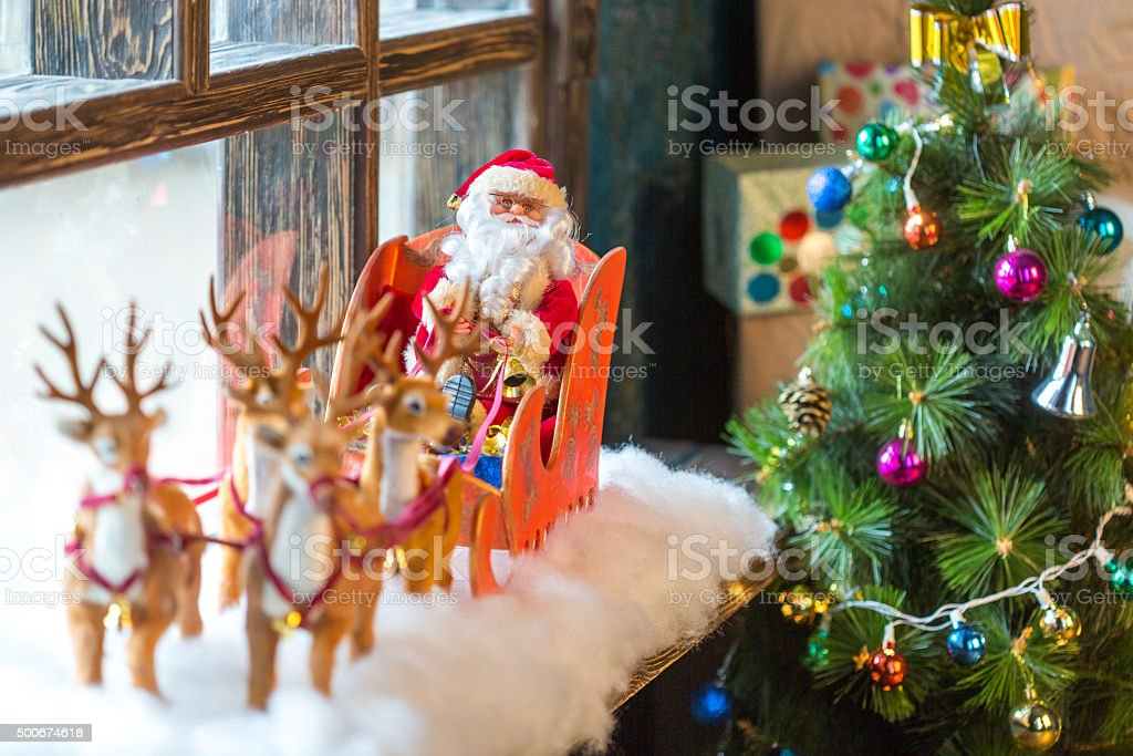Christmas Santa Sleigh stock photo