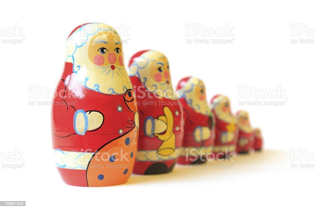 Christmas Santa toy matrioshka babushka puzzle dolls royalty-free stock photo