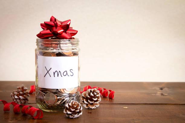 Christmas Savings Jar stock photo