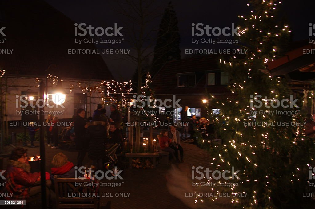 Christmas scene in the village stock photo