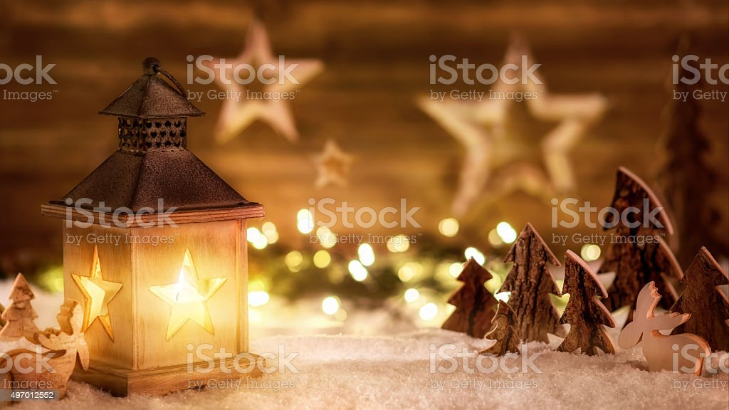 Christmas scene in warm lantern light stock photo