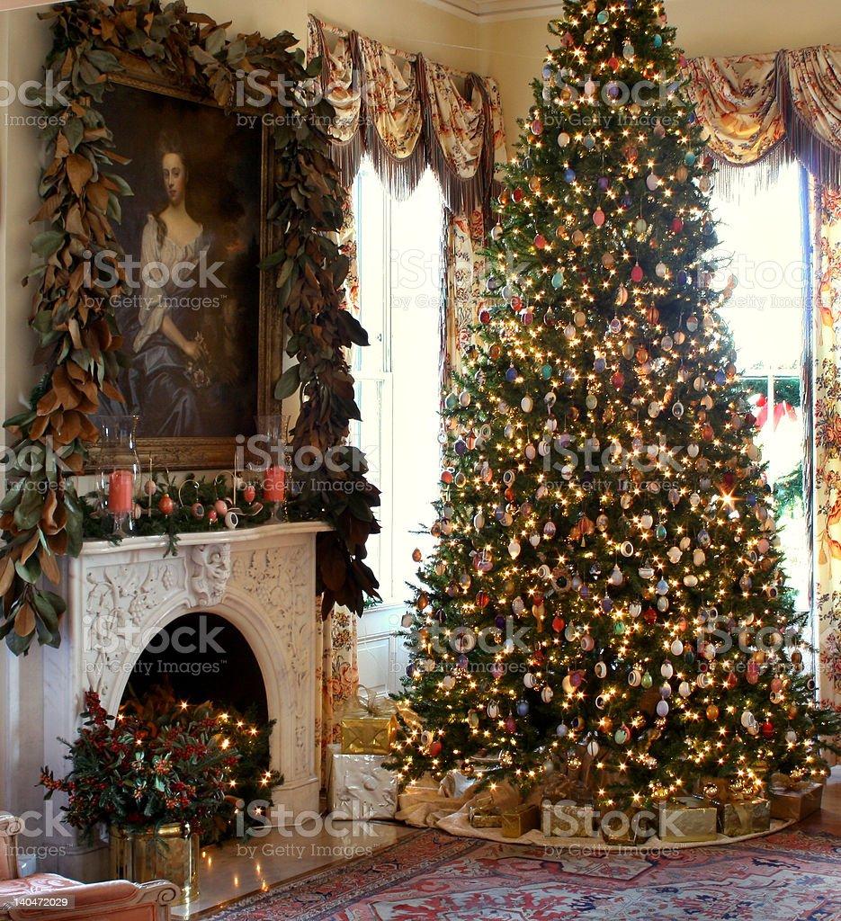 Christmas scene Christmas in an antebellum house. Antebellum Stock Photo