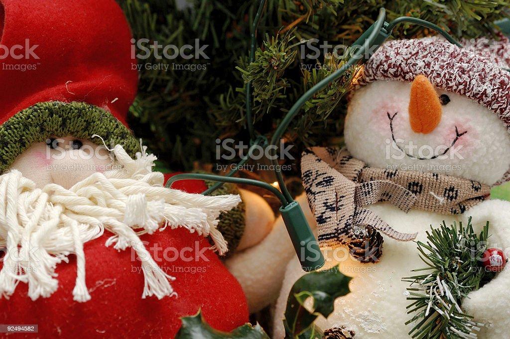 christmas scene, snowman and santa claus royalty-free stock photo