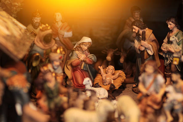 christmas scene with figurines including jesus, mary, joseph, king - nativity scene stock pictures, royalty-free photos & images
