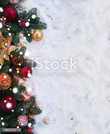 1020742072istockphoto Christmas scene with snow 1063329774