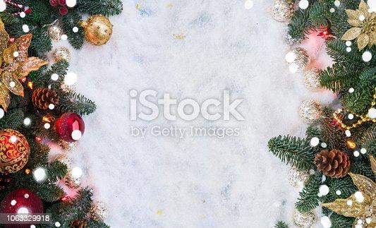 1020742072istockphoto Christmas scene with snow 1063329918
