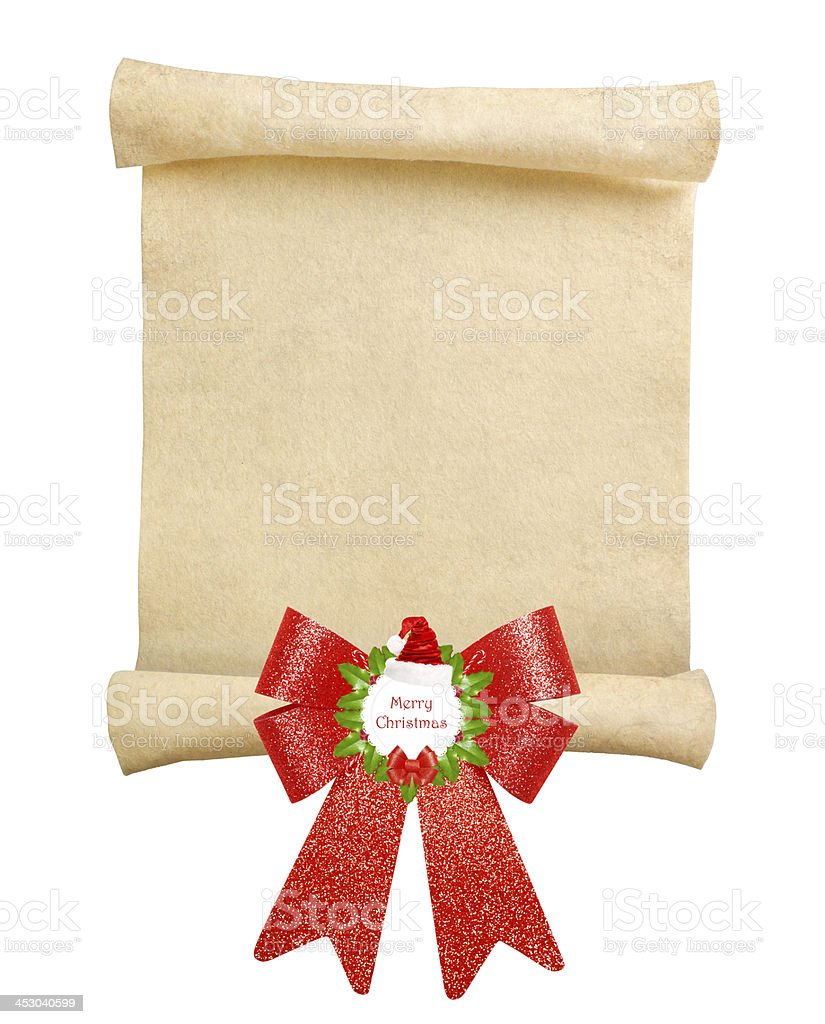 Christmas scroll with big red bow stock photo