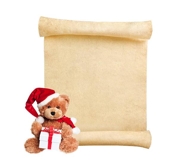 weihnachten scroll mit spielzeug bär - weihnachts wunschliste stock-fotos und bilder