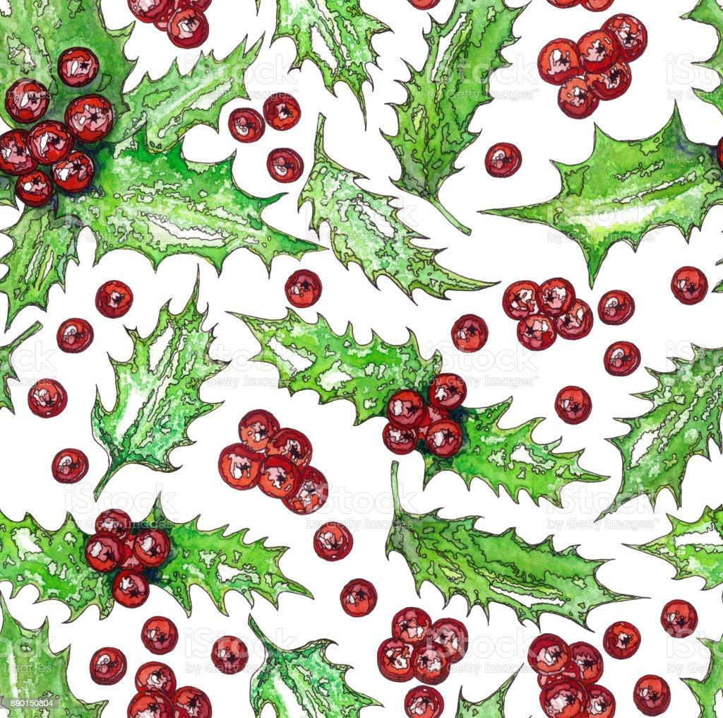 Bouquet De Noel Avec Du Houx photo libre de droit de seamless pattern de noël avec des