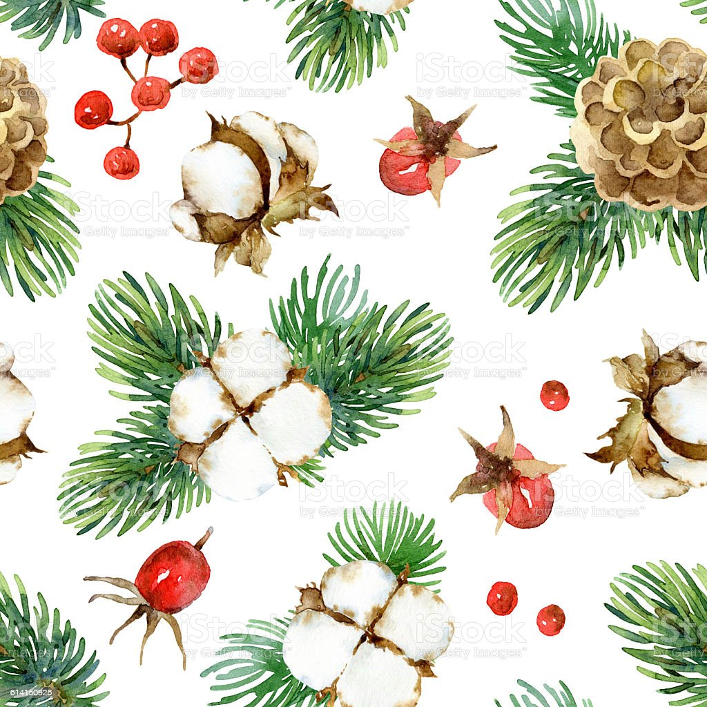 Christmas seamless watercolor pattern stock photo