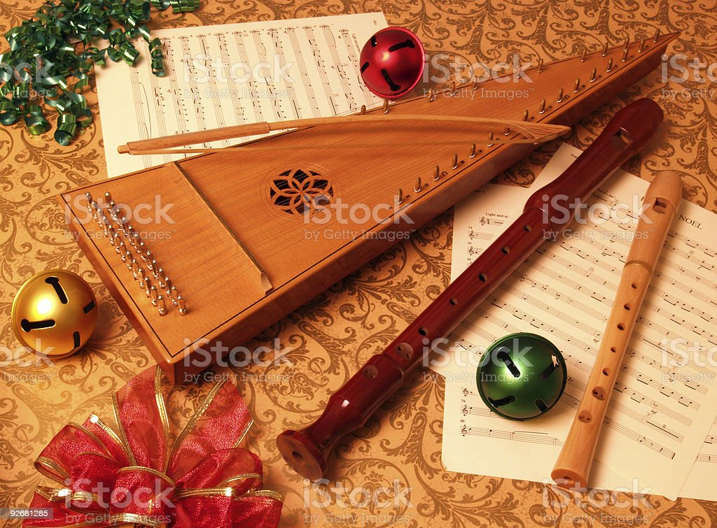 Christmas Season Bowed Psaltery with Recorders royalty-free stock photo