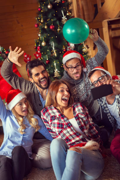 Christmas selfie stock photo