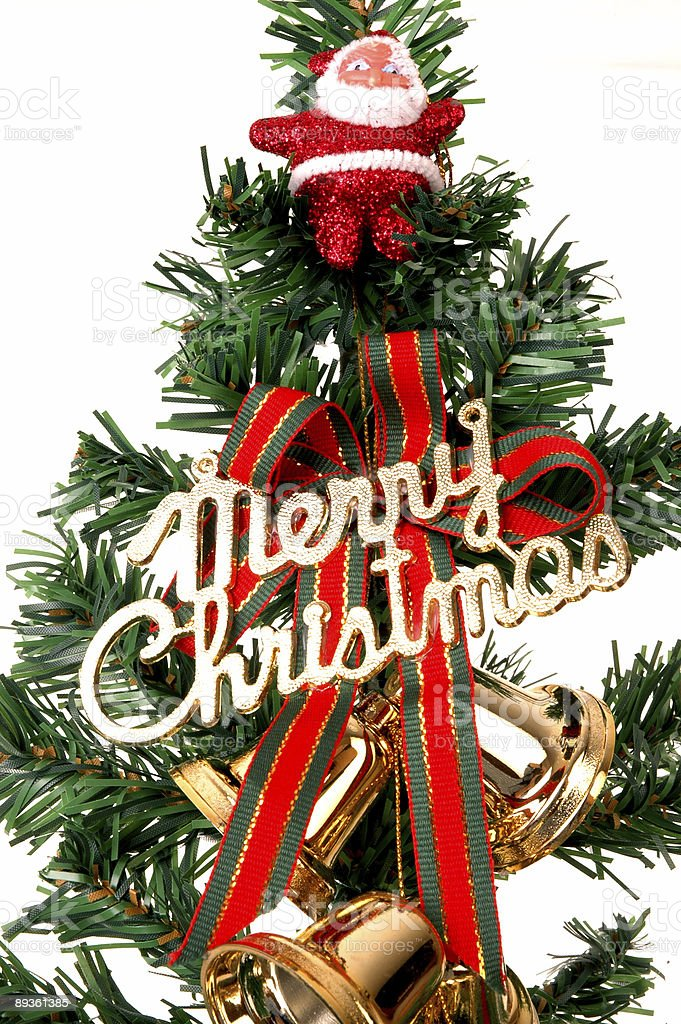 Boże Narodzenie Drzewo serii, bell i st.Claus zbiór zdjęć royalty-free