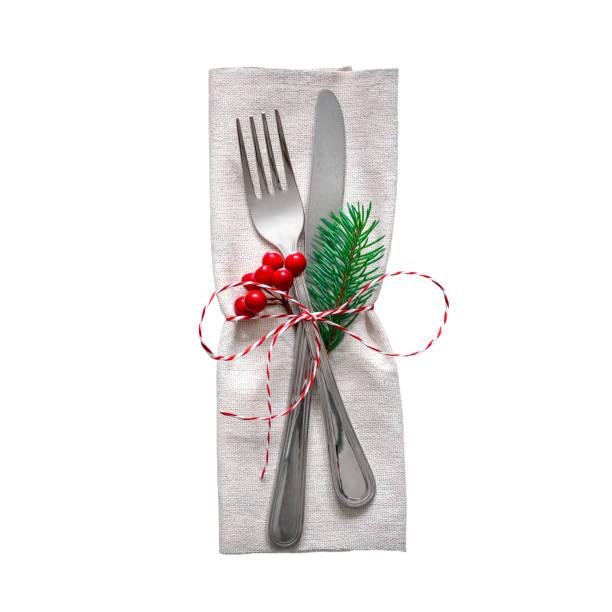 Weihnachten Servieren Besteck auf einer Serviette, isoliert auf weißem Hintergrund – Foto