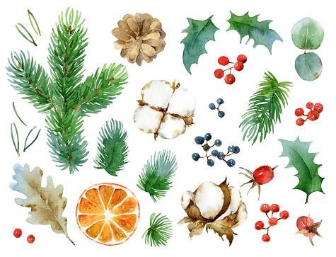 istock Christmas set of design elements 611305952
